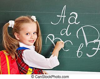 tábla, writting, iskolás gyerek