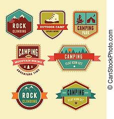 tábor, ikonok, természetjárás, -, állhatatos, jelvény, alapismeretek