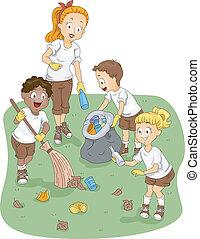 tábor, takarítás