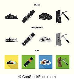 tábor, tervezés, hegymászás, vektor, csúcs, részvény, illustration., gyűjtés, icon.