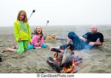 tábortűz, tengerpart