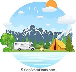 táj, autóbusz, kempingezés, design., rv, utazó, lakás, erdő