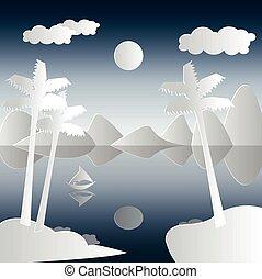 táj, csónakázik, pálma, dolgozat, style., illustration., vektor, elvág, bitófák