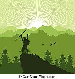 táj, emberek, hegy, ábra, természetjárás, vektor