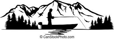 táj, halász, csónakázik, illustration), hegy, (vector