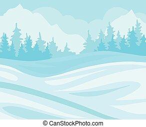 táj, havas, vektor, ábra, erdő, bitófák, háttér, tél, nap, dombok, fenyő