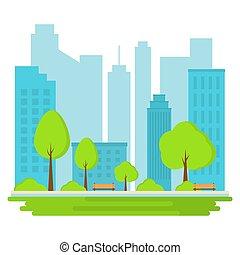 táj, illustration., city., általános dísztér, háttér., vektor