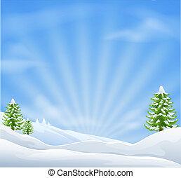 táj, karácsony, háttér, hó