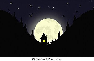 táj, karikatúra, éjszaka