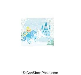 táj, ló, bástya, lovaglás, gyönyörű, hercegnő, tél
