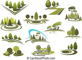 táj, liget, ikonok, erdő, zöld, kert