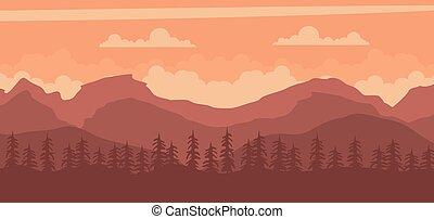 táj, napnyugta, háttér, hegyek