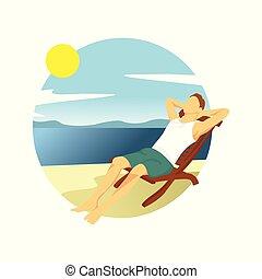 táj, nyár, bágyasztó, fiú, ábra, tervezés, elfoglaltság, tengerpart