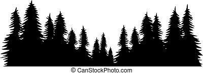 táj, vektor, tervezés, ábra, erdő