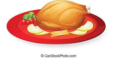 tál, csirke, hús