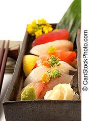 tál, friss, sushi, japán, wasabi