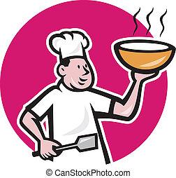 tál, kövér, séf, szakács, birtok, ovális, karikatúra