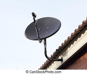 tál, mellékbolygó, fekete, tető, antenna