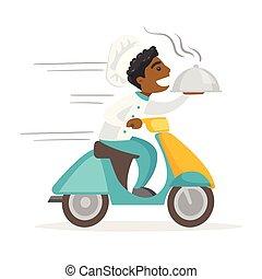 tál, scooter., átadó, ember, african-american