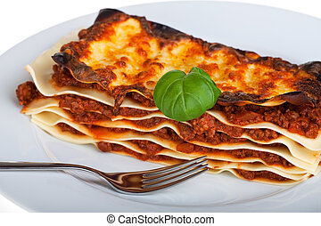 tál, tányér, fehér, tökfej, lasagna