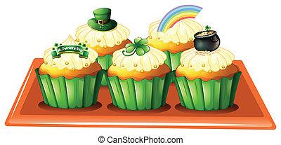 tálca, cupcakes, öt