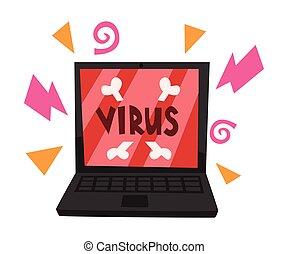 támadó, laptop, vírus, fogalom, illusztrált, vektor