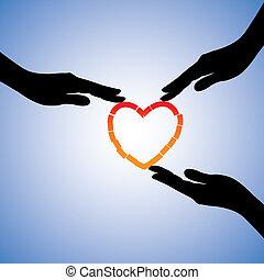 támogató, fogalom, heart., szív, ábra, ételadag, törött, grafikus, trauma, gyógyulás kezezés, érzelmi, meggyógyul, fáj, látszik