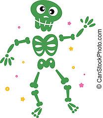 tánc, csontváz, elszigetelt, csinos, zöld white