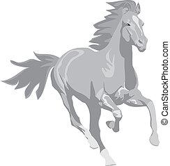 táncolás, szürke, ló