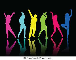 táncol, fél, árnykép, emberek