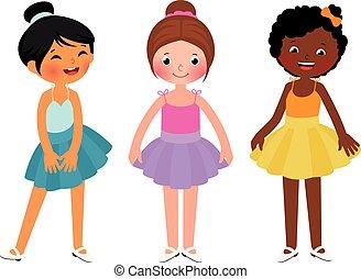táncol, kicsi lány, különböző, etnikai