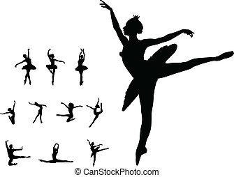 táncol, leány, állhatatos, balett