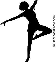 táncol, nő, árnykép