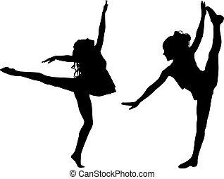 táncol, sport, árnykép