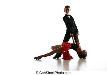 táncol színlel, táncosok, fiatal, latin