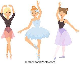 táncos, balerina, leány, vektor