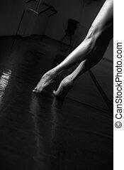 táncos, balett, láb, poén