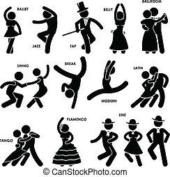 táncos, tánc, pictogram