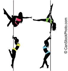 táncosok, ábra, szexi, silhouettes., vektor, négy, lengyel