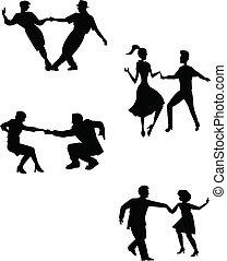 táncosok, gondol, hinta