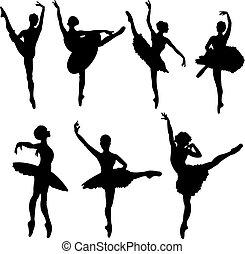 táncosok, körvonal, balett