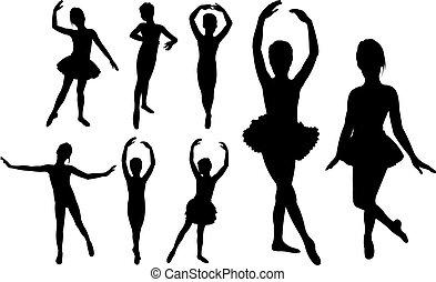 táncosok, lány, balett, körvonal