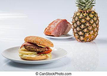 tányér, érett, cheeseburger, szalonna, ananász, friss