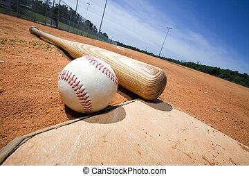tányér, üt, baseball, otthon