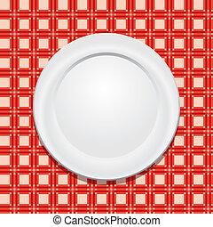 tányér, abrosz, vektor, piknik, üres