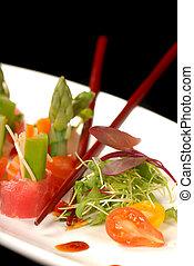 tányér, aprófa, sashimi, csapás, finom, fehér