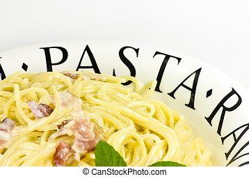 tányér, carbonara, spaguetti