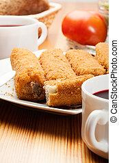 tányér, croquettes, finom