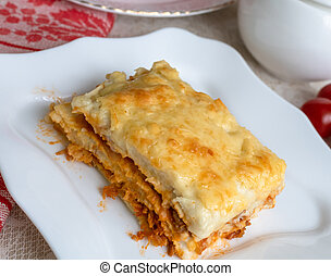 tányér, darab, lasagna, házi készítésű, finom