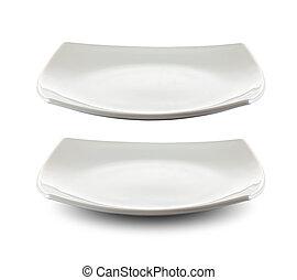 tányér, darabka, derékszögben, elszigetelt, included, út, fehér